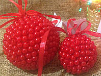 Новогодние шары ручной работы красные (пара)