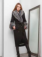 Роскошное Зимнее Пальто с Меховым Воротником и Манжетами Черное