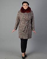Зимнее пальто женское клетка. код5060-1 бордовый