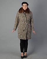 Зимнее пальто женское клетка. код5060-1 коричневый
