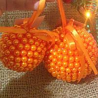 Новогодние шары ручной работы оранж (пара)
