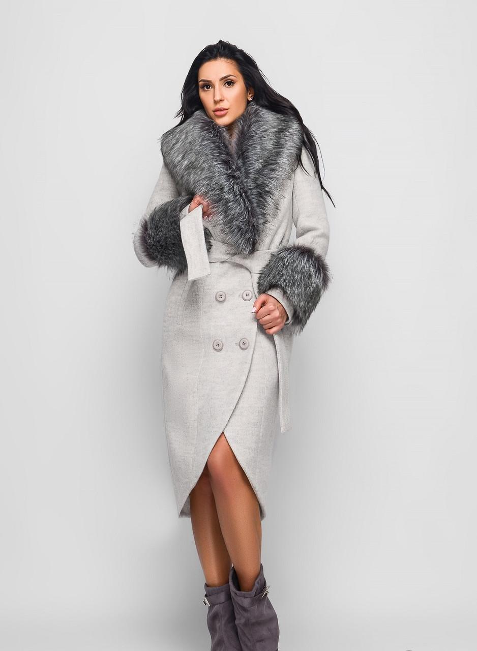 3f44c771528 Роскошное Зимнее Пальто с Меховым Воротником и Манжетами Светло-Серое -  Ukraine In Trend -