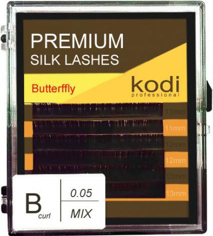 Ресницы для наращивания Kodi Professional Butterfly, В-0.05 (6 рядов:11,12,13 мм.) черные