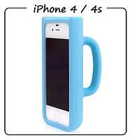 Чехол (силикон) 3D для iPhone 4/4S. Модель: КРУЖКА Taylor Mug. Цвет: голубой.