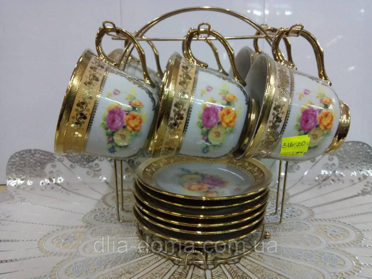 Набір чайний 6+6 золотий навісний