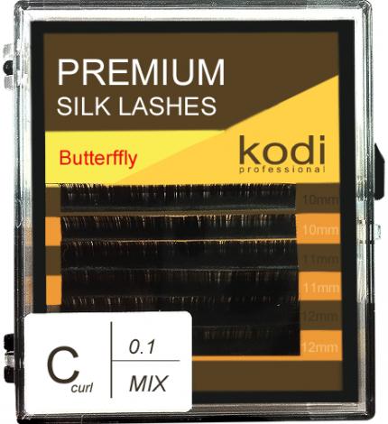 Ресницы для наращивания Kodi Professional Butterfly, C-0.1 (6 рядов: 10/11/12 мм.) черные