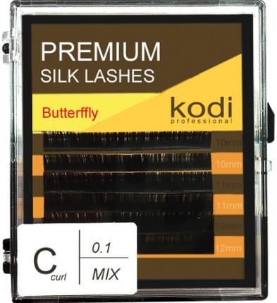 Ресницы для наращивания Kodi Professional Butterfly, C-0.1 (6 рядов: 10/11/12 мм.) черные, фото 2