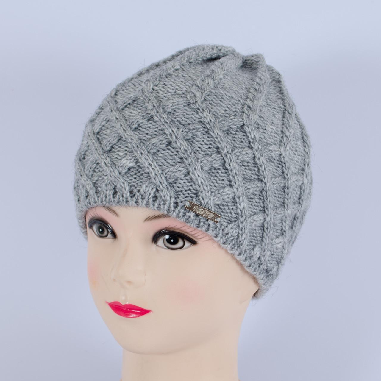Вязаная женская шапка, (Серый)
