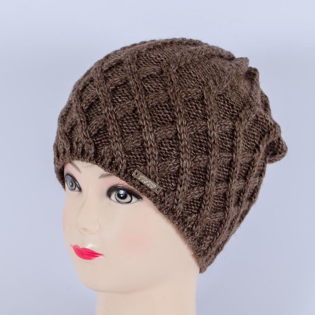 Вязаная женская шапка, (Шоколад)