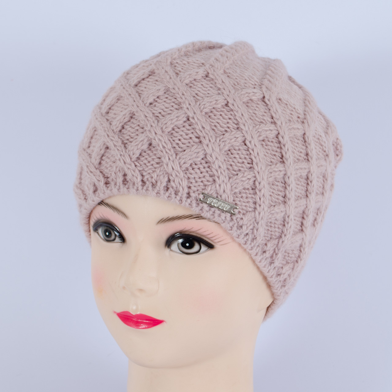 Вязаная женская шапка, (Пудра)