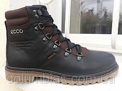 Мужские кожаные ботинки зимние еcco