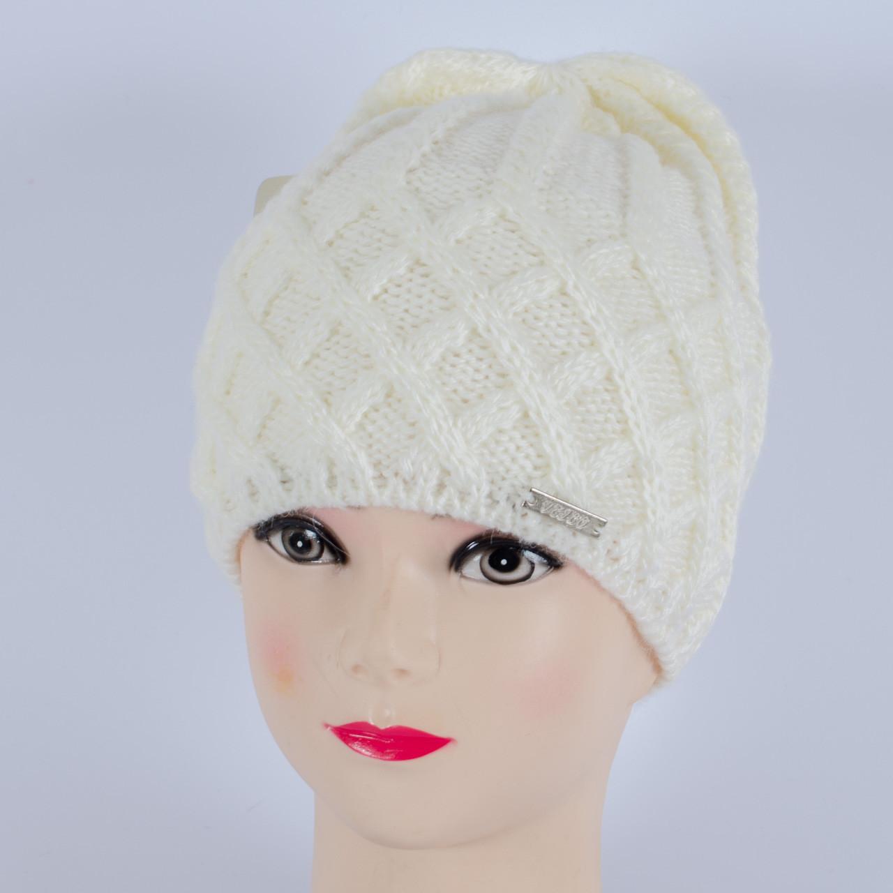 Вязаная женская шапка, (Белый)