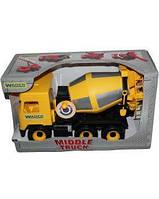 """Машина """"Middle truck"""" бетономешалка City, желт в кор.44*26*20 см., ТМ Wader (6шт)(39493)"""