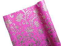 Пленка подарочная Полисилк Розовая с серебряными вензелями 1 рулон 5 м