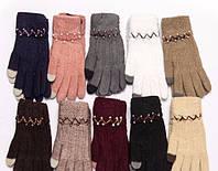 """Перчатки женские Шерсть от """"Корона"""" сенсорные Оптом 12 пар разные цвета"""