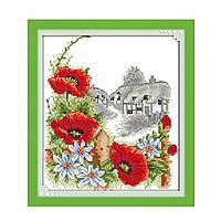 """Набор для вышивания крестиком Цветы """"Летний день"""", в пак. 27*33см(H350)"""