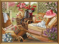 """Набор для вышивания нитками и бисером """"Летняя веранда"""", 45*32см(ННД1081)"""