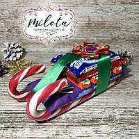 Конфетная композиция, сани Деда Мороза, сладкий подарок