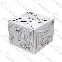 Упаковка для торта БАБОЧКА - Белая с принтом - 250х250х200 мм