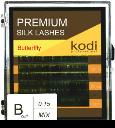 Ресницы для наращивания Kodi Professional Butterfly, B-0.15 (6 рядов: 12 мм.) зеленые, фото 2