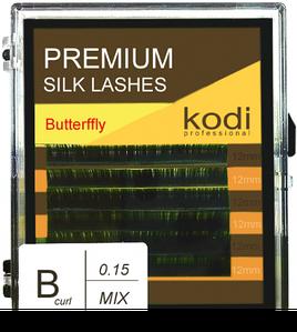 Ресницы для наращивания Kodi Professional Butterfly, B-0.15 (6 рядов: 12 мм.) зеленые