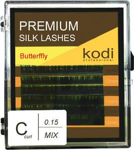 Ресницы для наращивания Kodi Professional Butterfly, C-0.15 (6 рядов: 12 мм.) зеленые