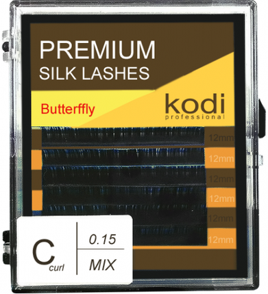 Ресницы для наращивания Kodi Professional Butterfly, C-0.15 (6 рядов: 12 мм.) синий, фото 2