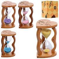 Деревянная игрушка Песочные часы, 16,5см, 15мин, микс цветов, в кор. 17,5*10,5*11с (60шт)(MD1116)