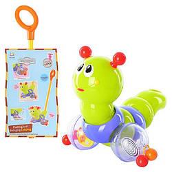 Детская Каталка-Гусеница с ручкой и музыкой Huile Toys