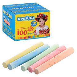 Мел MK 0094 100 шт, тонкий, цветной (5 цветов), в кор-ке, 10-10-7,5см