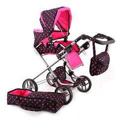 Детская кукольная коляска с люлькойMelogo с регулируемой ручкой, розовая