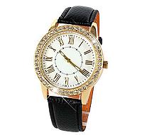 Кварцевые женские наручные часы с черным ремешком код 340