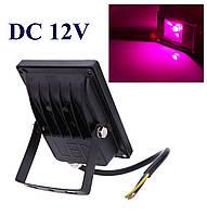 Фито прожектор 10 Вт 12 Вольт  водостойкий для гидропоники, теплиц, растений