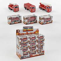 Пожарная машина металло-пластик 3 вида в кор. /8/288/(2008)
