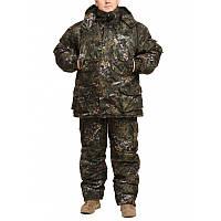 Зимний костюм Камуфляж Темный Лес мембранная ворса alova для охоты и рыбалки, удлиненная куртка