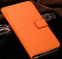 Кожаный чехол-книжка для Samsung Galaxy S5 i9600 SM-G900 оранжевый