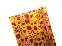 Пленка подарочная Полисилк Желтая голограмма с бордовыми цветами и сердцами 1 рулон 5 м