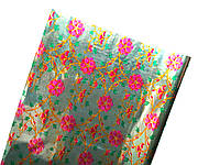 Пленка подарочная Мятная с малиновыми цветами Голограмма Полисилк Фольга 1 рулон 5 м