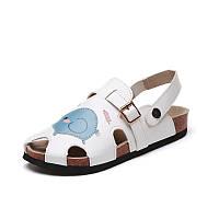 Женщины римские тапочки сандалии квартиры мягкие случайные вышитые мультфильм PU резиновые нескользящей пляж обувь