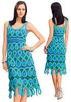 Платье бирюзовое в технике брюггского кружева