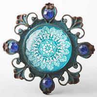 "Ручка кнопка с кристаллами голубая ""Shabby Blue"" RT-4006-73-5, фото 1"