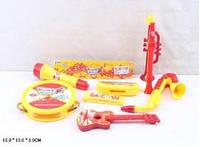 Муз.инструменты (160шт/2)бубен,микрофон,дудка, труба, саксофон,губ.гарм,гит, в пак13**13*3см