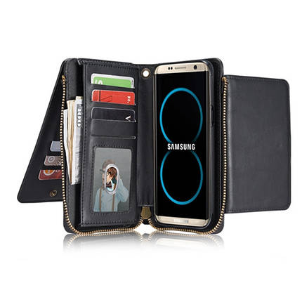 Bakeey ™ Retro Multi Slot Kickstand Съемный кожаный кошелек Zipper Чехол для Samsung Galaxy S8 Plus, фото 2