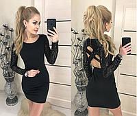 Женское платье пайетка переплет на спине черное 42-44,44-46.