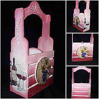 Декоративный ящик под две бутылки вина, ручная работа, декупаж, дерево и фанера, 38х22х11 см., 490 гр.