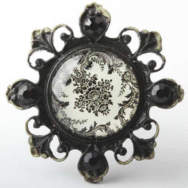 """Ручка кнопка с кристаллами черная """"Shabby Black"""" RT-4006-73-6, фото 1"""