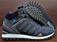 Мужские кожаные зимние кроссовки Adidas CloudFoam Flow