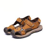 Мужчины сандалии тапочки натуральной кожи телячья кожа летние пляжные туфли случайные замши кожи