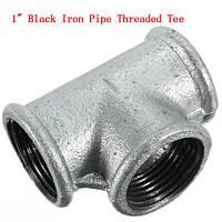 1 дюйм ID Черная железная труба Резьбовое соединение тройника Подвижный чугунный резьбовой тройник с резьбой