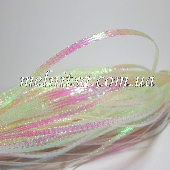 Декоративный шнур, плоский, 3 мм, белый перламутровый, 1 м